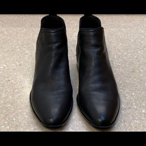 Aldo Black Leather Ankle Boots -$15